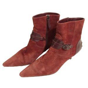 Tod's suede victorian heel booties pointed 8.5